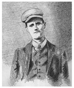 Pencil Greeting Cards Prints - The Young James Joyce Print by John  Nolan