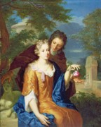 Flirting Painting Prints - The Young Lovers Print by Gerard Hoet
