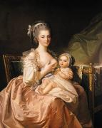 Aristocrat Paintings - The Young Mother by Jean Laurent Mosnier