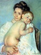 Cuddle Framed Prints - The Young Mother Framed Print by Mary Stevenson Cassatt