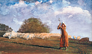 Young Lady Framed Prints - The Young Shepherdess Framed Print by Winslow Homer