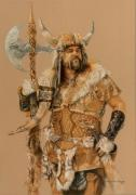 Vikings Pastels Prints - The Young Son of Bor Print by Steven Paul Carlson