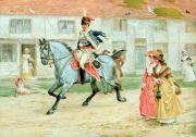 Trotting Framed Prints - The Young Subaltern Framed Print by Richard Cattermole