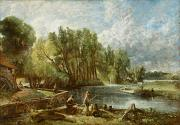 Constable Metal Prints - The Young Waltonians - Stratford Mill Metal Print by John Constable