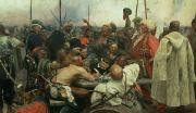 Crowd Paintings - The Zaporozhye Cossacks writing a letter to the Turkish Sultan by Ilya Efimovich Repin