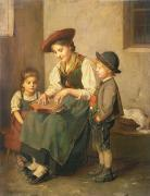 Zither Prints - The Zither Player Print by Franz von Defregger