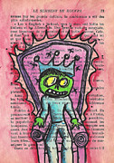 Chair Mixed Media Framed Prints - The Zombie Lizard King Framed Print by Jera Sky