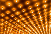 Illuminated Tapestries Textiles - Theater Marquee Lights in Rows by Paul Velgos