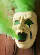 Masks Framed Prints - Theater mask spewing green smoke Framed Print by Garry Gay