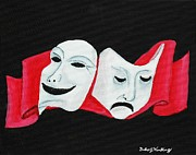 Theater Masks Posters - Theater Masks Poster by Gordon Wendling