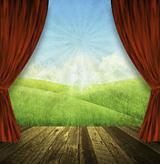 Field. Cloud Prints - Theater Stage With Red Curtains And Nature Background  Print by Setsiri Silapasuwanchai