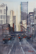 Skylines Painting Framed Prints - Theatre District - Chicago Framed Print by Ryan Radke