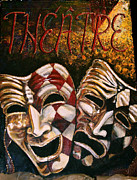 Theater Masks Posters - Theatre Masks Comedy and Tragedy Poster by Martha Bennett