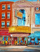 Park Scene Paintings - Theatre Rialto Ave. Du Parc Montreal by Carole Spandau