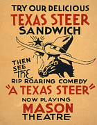 Silkscreen Art - Theatre. Try Our Delicious Texas Steer by Everett