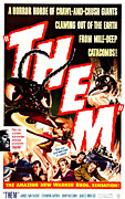 1954 Movies Prints - Them, Inset Left Onslow Stevens Print by Everett