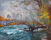 Falls Painting Originals - ....then the Rain Started by Ylli Haruni
