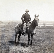 Presidential Photo Prints - Theodore Roosevelt horseback - c 1903 Print by International  Images