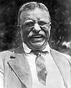 Us Presidents Photo Framed Prints - Theodore Roosevelt laughing Framed Print by International  Images