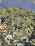 America Paintings - Theodore Roosevelt taking the Saint Juan Heights by Vasili Vasilievich Vereshchagin