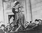 Us Presidents Photo Framed Prints - Theodore Roosevelt, Waving His Hat Framed Print by Everett