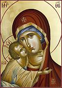 Byzantine Icon Prints - Theotokos Print by Julia Bridget Hayes