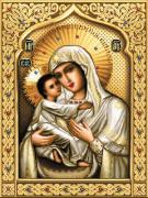 Cross Tapestries - Textiles Posters - Theotokos of Tenderness Poster by Stoyanka Ivanova