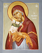 Jesus Christ Icon Painting Metal Prints - Theotokos Pelagonitisa Metal Print by Julia Bridget Hayes