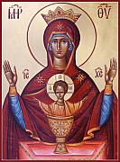 Icon Byzantine Painting Posters - Theotokos the Inexhaustable Cup Poster by Julia Bridget Hayes
