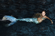Nina Prommer Prints - There Is A Mermaid In The Pool Print by Nina Prommer
