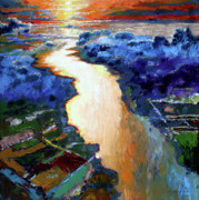 River View Paintings - There Is A River That Flows From Deep Within by John Lautermilch