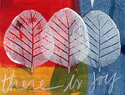 Red Leaves Mixed Media Posters - There Is Joy Poster by Linda Woods