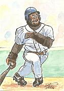 Baseball Drawings Posters - There It Is Poster by George I Perez