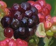 Raspberry Paintings - There Part Two by Patti Siehien