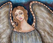 Angel Art Pastels Framed Prints - There Framed Print by Rain Ririn