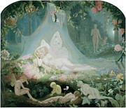 Fairies Framed Prints - There Sleeps Titania Framed Print by John Simmons