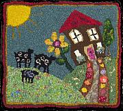 Primitive Tapestries - Textiles - There was a crooked house... by Maureen McIlwain