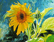 Sunflower Painting Metal Prints - Theres a New Bud in Town Metal Print by Chris Steinken
