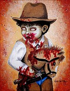 Little Boy Prints - Theres a new Sheriff in Town and He wants to eat your Brains Print by Al  Molina