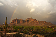 Monsoon Framed Prints - Theres Gold at the End of the Rainbow Framed Print by Saija  Lehtonen