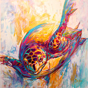 Green Sea Print Posters - Theres More than Just fish in the Sea - Sea Turtle Art Poster by Mike Savlen