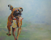 Boxer Dog Art Paintings - Theres No Stopping Her by Kimberly Santini