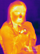 Thermogram Prints - Thermogram Of A Girl And Cat Print by Ted Kinsman