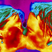 Couple Kissing Prints - Thermogram Of A Man And Woman Kissing Print by Dr. Arthur Tucker