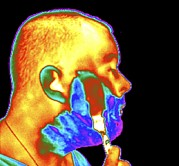 Thermogram Prints - Thermogram Of A Man Shaving Print by Dr. Arthur Tucker