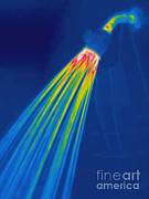 Shower Head Posters - Thermogram Of A Shower Head Poster by Ted Kinsman
