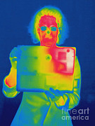 Electromagnetic Spectrum Photos - Thermogram Of A Woman With A Laptop by Ted Kinsman