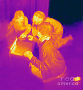 Human Being Posters - Thermogram Of Children Poster by Ted Kinsman