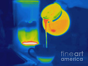 Pour Framed Prints - Thermogram Of Coffee Being Poured Framed Print by Ted Kinsman