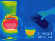Pour Framed Prints - Thermogram Of Pouring Milk Into Coffee Framed Print by Ted Kinsman